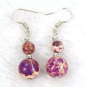 Purple Jasper Gemstone Dangle Silver Earrings